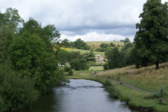 Bakewell Bridge -  the view towards Holme Lane across Scot's Garden